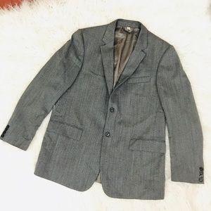 Burberry London Gray herringbone blazer 100% wool